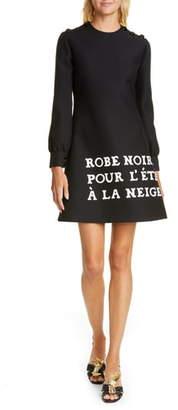 Gucci Print Long Sleeve Crepe Cady Dress