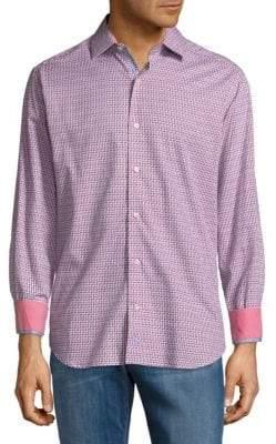 Tailorbyrd Zig Zag Cotton Button-Down Shirt