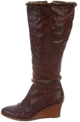 Henry Cuir Leather Wedge Boots
