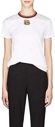 Prada Women's Logo Cotton Jersey Ringer T-Shirt - White