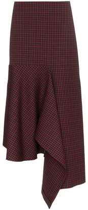 Balenciaga asymmetric check godet skirt