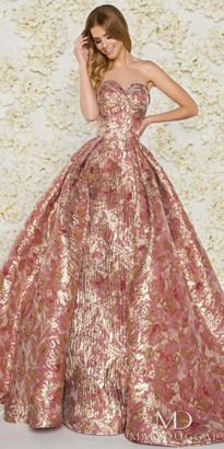 Mac Duggal Strapless Sweetheart Metallic Floral Print Ball Gown $598 thestylecure.com