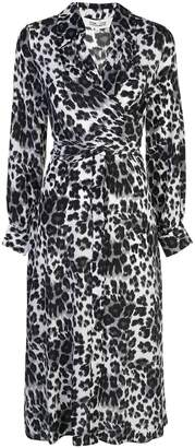 Diane von Furstenberg heritage snow cheetah wrap dress