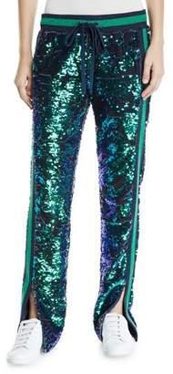Pam & Gela Side-Slit Sequin Velour Track Pants