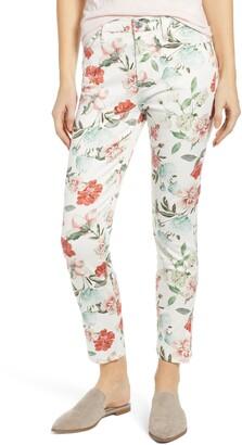 7 For All Mankind JEN7 by Floral Print Split Ankle Crop Skinny Jeans