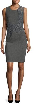 Elie Tahari Baldwin Sleeveless Lace-Trim Sheath Dress, Charcoal Melange $448 thestylecure.com