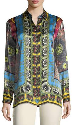 Etro Button-Front Mandala-Print Silk Shirt