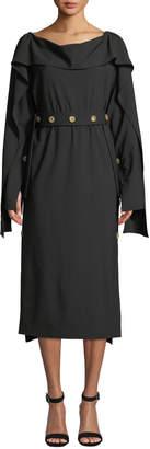 Awake Cutout-Back Long-Sleeve Button Midi Dress