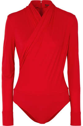 Versace Wrap-effect Crepe Bodysuit - Red