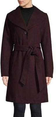 London Fog Shawl Collar Belted Coat