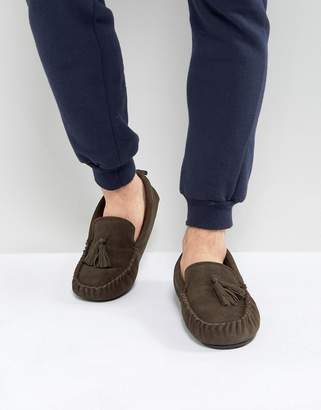 Dunlop Tassel Slippers In Brown Suede