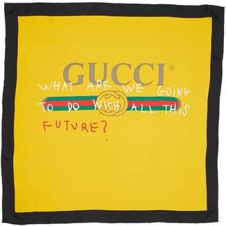 Gucci Coco Capitan Print Silk Scarf