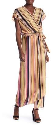 ECI Short Sleeve Surplice Stripe Waist Tie Dress