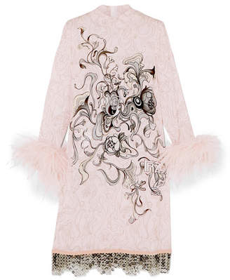 Prada Feather And Chain-trimmed Printed Crepe Dress - Pastel pink