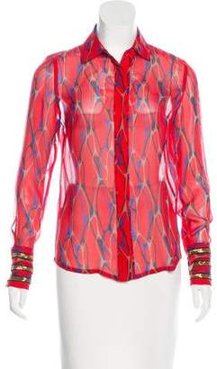 Winter Kate Embellished Silk Button-up Top