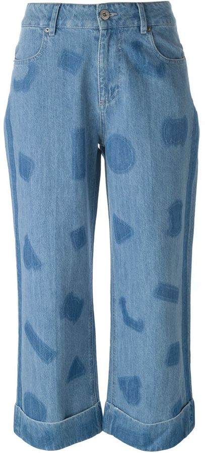 Each X Other shape print wide leg jeans
