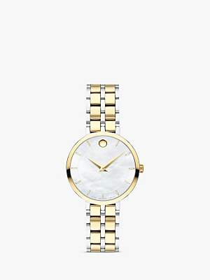 Movado 607323 Women's Kora Two Tone Bracelet Strap Watch, Silver/Gold