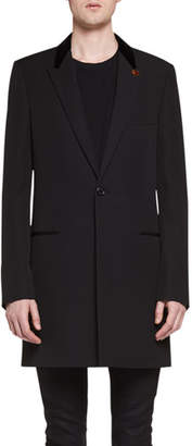 Saint Laurent Chesterfield Wool Velvet-Collar Single-Breasted Coat, Black