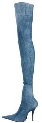Balenciaga Knife Thigh-High Boots Blue Knife Thigh-High Boots