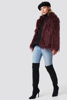 NA-KD Linn Ahlborg X Fluffy Faux Fur Jacket Burgundy