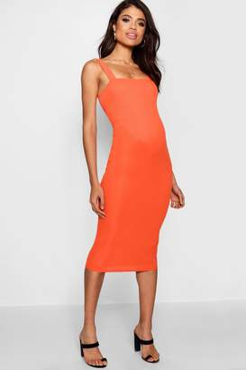 boohoo Maternity Square Neck Ribbed Midi Dress