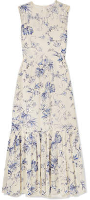 RED Valentino Pleated Printed Crepe De Chine Midi Dress - Ivory