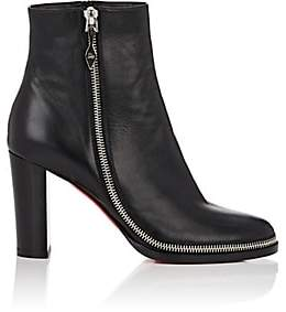 Christian Louboutin Women's Telezip Leather Ankle Boots-Black, Black lucido