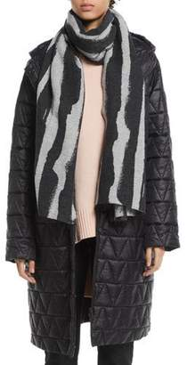 Eileen Fisher Chevron Quilted Hooded Long Coat, Petite