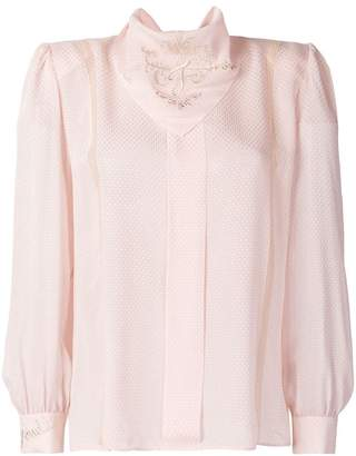 Fendi embroidered long-sleeve blouse