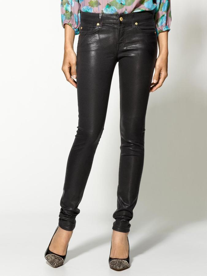 7 For All Mankind The High Shine Leather-Like Skinny Jeans