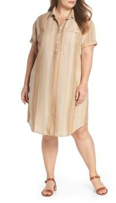 Caslon Stripe Linen Shirtdress