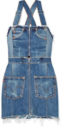 Levi's Two-tone Distressed Denim Mini Dress - Mid denim