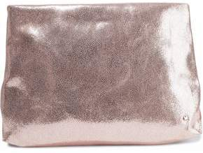 Halston Metallic Cracked-Leather Pouch