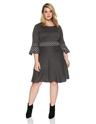 Gabby Skye Women's Plus Size 3/4 Bell Sleeve Round Neck Sweater Fit&Flare Dress