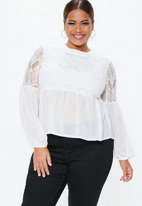 Missguided Plus Size White Lace Detail Top