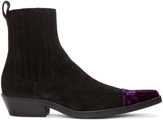 Haider Ackermann Black Velvet Cap Toe Boots $1,195 thestylecure.com