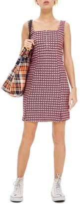 Topshop Mini Check Pinafore Dress