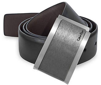 Calvin Klein Reversible Wrapped Plaque Leather Belt