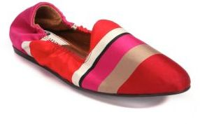 Lanvin Striped Satin Smoking Slippers $550 thestylecure.com