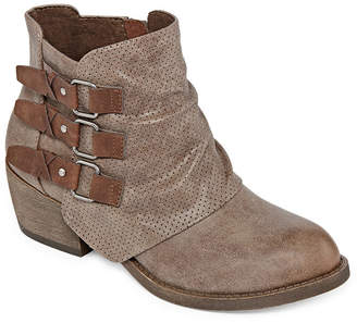POP Womens Passion Booties Block Heel Zip