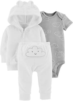 Carter's Baby Cloud Bodysuit, Hooded Terry Cardigan & Pants Set