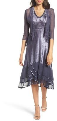 Petite Women's Komarov Embellished Charmeuse Dress & Chiffon Jacket $438 thestylecure.com