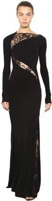Alexander McQueen Long Crepe Jersey Dress W/ Lace