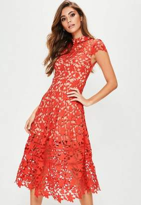 Missguided Red Short Sleeve Lace Midi Skater Dress
