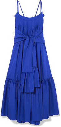 Three Graces London Adriadne Ruffled Cotton-poplin Maxi Dress - Cobalt blue