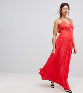 Asos (エイソス) - Asos Maternity ASOS Maternity Blouson Wrap Pleated Maxi Dress