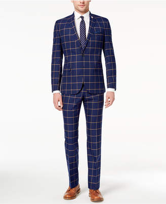 Nick Graham Men's Slim-Fit Stretch Navy/Gold Windowpane Suit