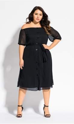 City Chic Citychic Button Through Dress - black