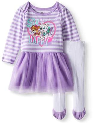 Paw Patrol Long Sleeve Tutu Dress & Tights, 2-Piece Outfit Set (Baby Girls)