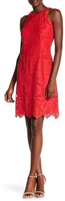 Chetta B Sleeveless Lace High Neck Sheath Dress
